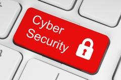 Conceito da segurança do Cyber no botão vermelho imagem de stock