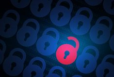 Conceito da segurança do Internet com fechamento Fotografia de Stock