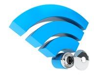Conceito da segurança do Internet de WiFi wifi e chave do símbolo 3d Fotografia de Stock