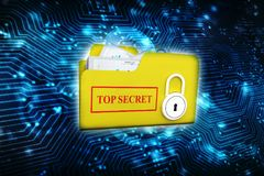 Conceito da segurança, dobrador com fechamento 3d rendem Fotos de Stock