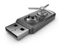 Conceito da segurança dos dados. Movimentação 3D do flash do USB Fotografia de Stock Royalty Free