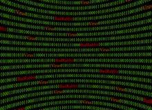 Conceito da segurança e o vírus e coelho mau Ransomware Texto vermelho do coelho mau e do código binário verde Imagens de Stock
