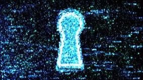 Conceito da segurança: encantar o código e o código binário no buraco da fechadura CyberSecurity Proteja o código Fotos de Stock
