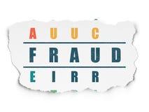 Conceito da segurança: fraude da palavra em resolver palavras cruzadas ilustração stock