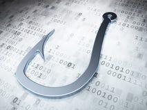 Conceito da segurança: Gancho de pesca de prata no fundo digital Imagem de Stock