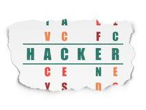Conceito da segurança: hacker da palavra em resolver palavras cruzadas ilustração do vetor