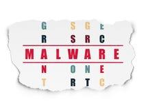 Conceito da segurança: palavra Malware em resolver palavras cruzadas ilustração do vetor