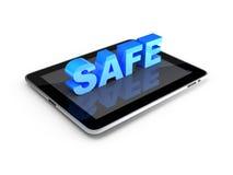 Conceito da segurança. PC da tabuleta com o COFRE FORTE do texto 3d Imagem de Stock Royalty Free