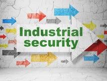 Conceito da segurança: seta com segurança industrial no fundo da parede do grunge Ilustração do Vetor