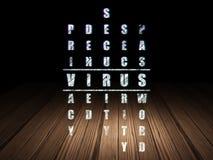 Conceito da segurança: vírus da palavra em resolver palavras cruzadas ilustração royalty free