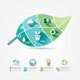 Conceito da serra de vaivém de Infographic da ecologia dos elementos do projeto das folhas do verde. Fotos de Stock