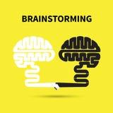 Conceito da sessão de reflexão Projeto criativo do logotipo do vetor do sumário do cérebro Imagem de Stock