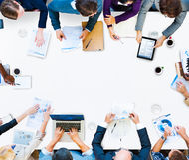 Conceito da sessão de reflexão da discussão da reunião dos trabalhos de equipa do negócio Foto de Stock
