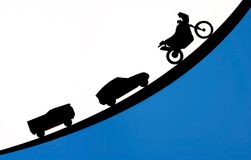 Conceito da silhueta do carro e da motocicleta do caminhão Foto de Stock Royalty Free