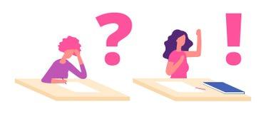 Conceito da solução do problema do estudante fêmea Estudante incomodada na mesa que pensa com ponto de interrogação Tempo do exam ilustração royalty free