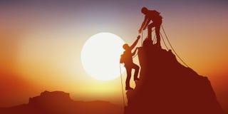 Conceito da subida vitorioso de uma montanha com os dois alpinistas na solidariedade ilustração do vetor