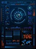 Conceito da tecnologia com Hud, Gui Design Elements Cabeça-acima Displa ilustração stock