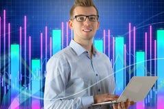 Conceito da tecnologia, da comunicação e do mercado Fotos de Stock Royalty Free