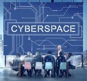 Conceito da tecnologia da globalização da conexão do Cyberspace do Cyber fotografia de stock
