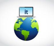 conceito da tecnologia da informação ao redor do mundo Fotos de Stock