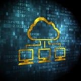 Conceito da tecnologia da nuvem: Rede da nuvem no fundo digital ilustração royalty free