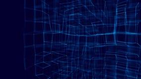 Conceito da tecnologia de Blockchain Visualiza??o grande dos dados ilustração 3D azul Tecnologia distribuída do registro ilustração royalty free