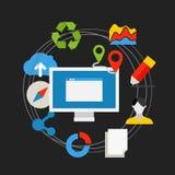 Conceito da tecnologia de comunicação Ícones lisos dos meios Imagens de Stock Royalty Free