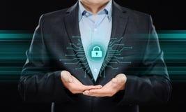 Conceito da tecnologia do Internet do negócio da privacidade da segurança do Cyber da proteção de dados Imagens de Stock