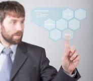 Conceito da tecnologia, do Internet e dos trabalhos em rede - homem de negócios que pressiona o botão da ideia em telas virtuais  Foto de Stock Royalty Free