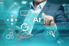 Conceito da tecnologia do Internet do negócio da aprendizagem de máquina da inteligência artificial Imagens de Stock