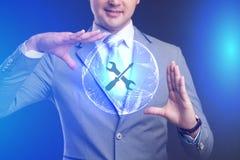 Conceito da tecnologia do Internet do negócio O homem de negócios escolhe Suppor Imagens de Stock