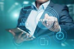 Conceito da tecnologia do Internet do negócio do treinamento do ensino eletrónico de Webinar Imagens de Stock