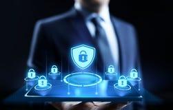 Conceito da tecnologia do Internet da privacidade da informação da proteção de dados da segurança do Cyber fotografia de stock royalty free