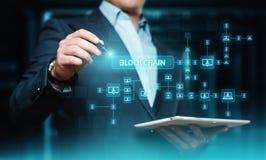 Conceito da tecnologia do Internet da rede de Fintech da finança da segurança dos blocos da criptografia de Blockchain imagens de stock royalty free