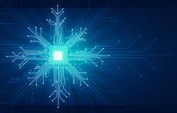 Conceito da tecnologia do Natal do ano novo de Showflake ilustração do vetor