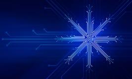 Conceito da tecnologia do Natal do ano novo de Showflake ilustração royalty free