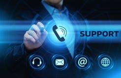 Conceito da tecnologia do negócio do Internet do serviço ao cliente do centro de suporte laboral fotos de stock