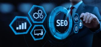 Conceito da tecnologia do negócio do Internet do Web site do tráfego da classificação de SEO Search Engine Optimization Marketing imagens de stock royalty free