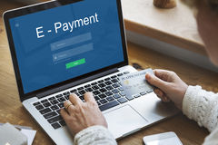 Conceito da tecnologia dos Internet banking do E-pagamento foto de stock royalty free