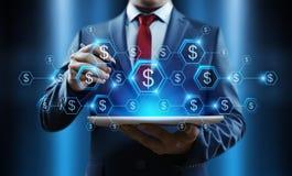 Conceito da tecnologia da finança da operação bancária do negócio da moeda do dólar fotos de stock