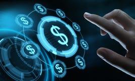 Conceito da tecnologia da finança da operação bancária do negócio da moeda do dólar imagens de stock
