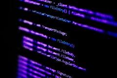 Conceito da tecnologia da informação Texto do roteiro da língua do programador da codificação na exposição do monitor da tela Tra Imagem de Stock Royalty Free
