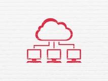 Conceito da tecnologia da nuvem: Rede da nuvem no fundo da parede ilustração do vetor