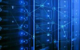 Conceito da telecomunicação com fundo abstrato da sala da estrutura e do servidor de rede imagens de stock royalty free
