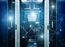 Conceito da telecomunicação com sala abstrata da estrutura e do servidor de rede do fundo moderno do centro de dados ilustração royalty free