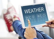 Conceito da temperatura da previsão do boletim meteorológico imagem de stock
