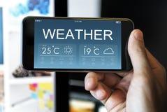 Conceito da temperatura da previsão do boletim meteorológico imagens de stock royalty free