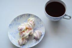 Conceito da ternura, marshmallow e copo quente do chá vermelho Fotos de Stock Royalty Free