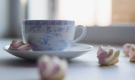 Conceito da ternura, marshmallow e copo quente do chá vermelho Imagens de Stock
