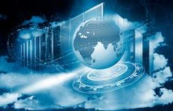 Conceito da terra do planeta cercada por córregos digitais das ondas com holograma no computador do sumário do fundo dentro Imagem de Stock Royalty Free